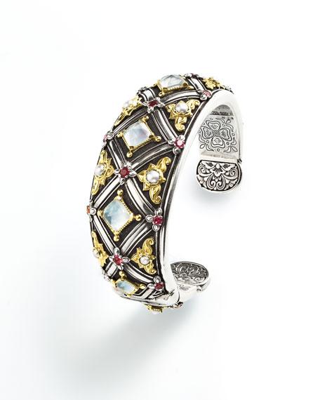 Pink Tourmaline & Pearl Cuff Bracelet