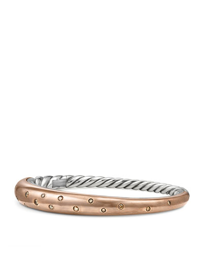 17.5mm Pure Form Smooth Bronze Bangle with Cognac Diamonds