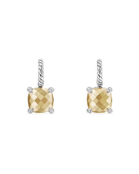 David Yurman Ch??telaine Faceted 18K Gold Earrings With
