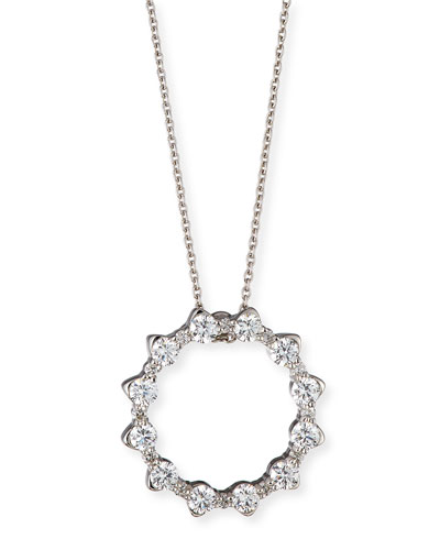 Alternating Diamond Circle Pendant Necklace in 18K White Gold