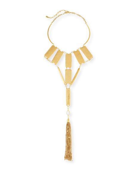 Sequin Bold Hammered Golden Statement Necklace