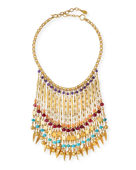 Image 1 of 2: Bold Multicolor Beaded Statement Necklace