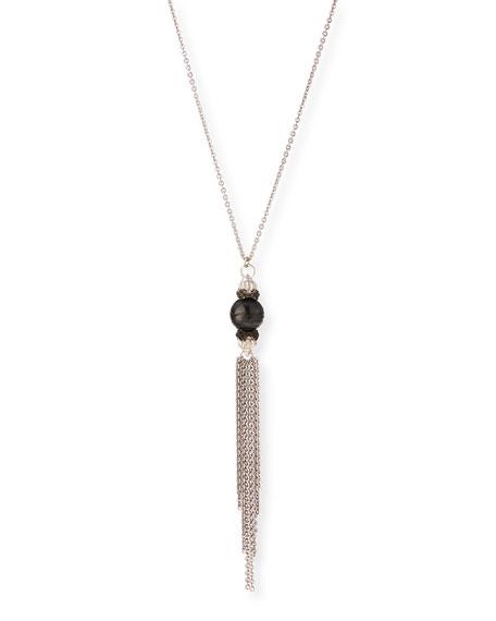 Armenta New World Midnight Tahitian Pearl Tassel Pendant Necklace