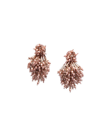 Burst Beaded Statement Earrings, Blush