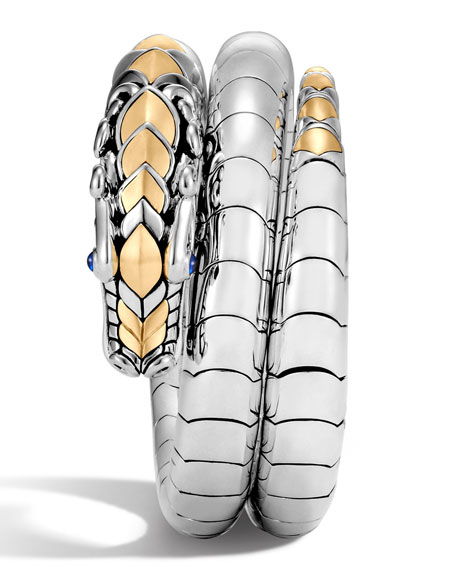 Legends Naga 18K Gold & Silver Double Coil Bracelet with Blue Sapphire Eyes