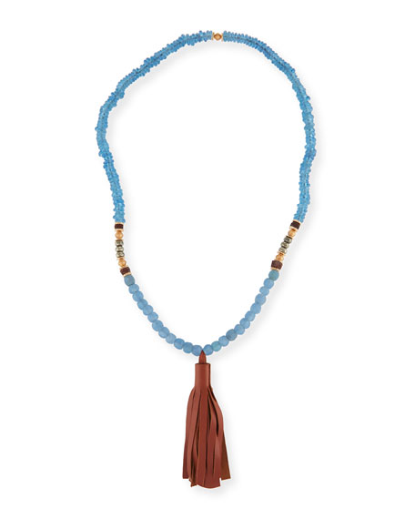 Beaded Tassel Necklace, Blue/Brown