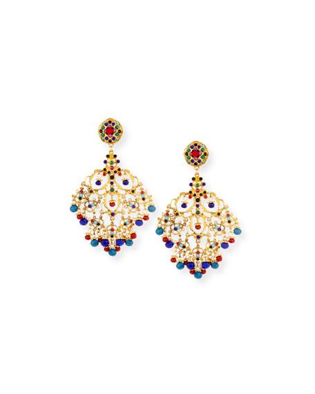 Jose & Maria Barrera Beaded Filigree Chandelier Clip-On Earrings 63Kgqmvq1l