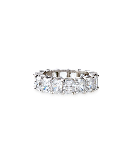 Fantasia by DeSerio Radiant-Cut CZ Eternity Band Ring