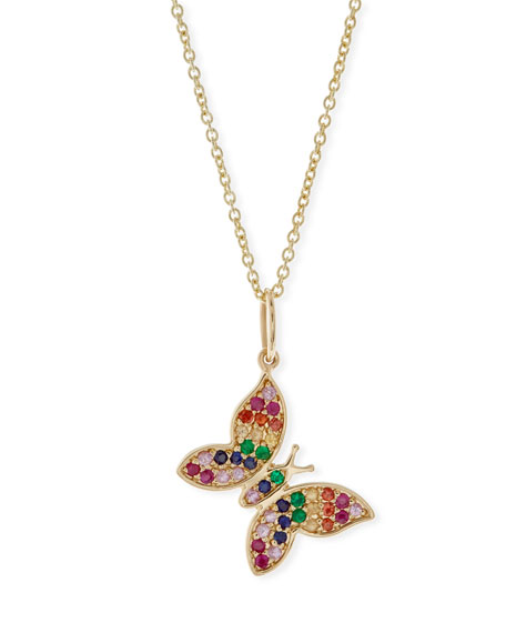 Sydney Evan Butterfly Medallion Necklace with Diamonds G6LML
