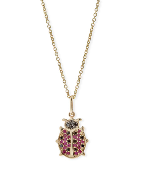 Anniversary Ladybug Necklace with Rubies & Black Diamonds
