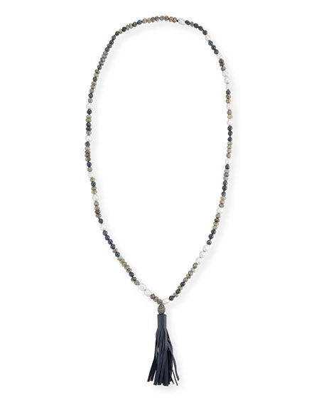 Erica Beaded Necklace With Leather Tassel