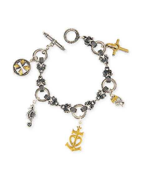18K Gold & Sterling Silver Charm Bracelet
