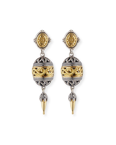 Sterling Silver & 18K Gold Drop Earrings
