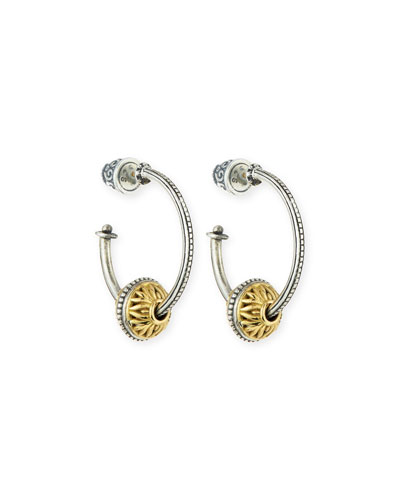 18K Gold & Sterling Silver Single-Bead Hoop Earrings
