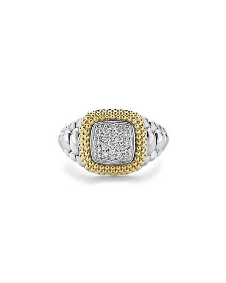 Diamond Lux Square Ring, Size 7