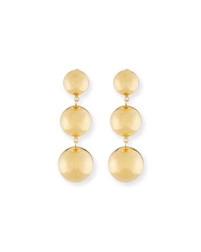 Gold triple drop earrings