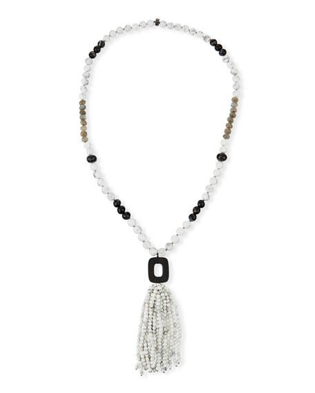 Nest White Howlite & Agate Tassel Necklace XAtCz