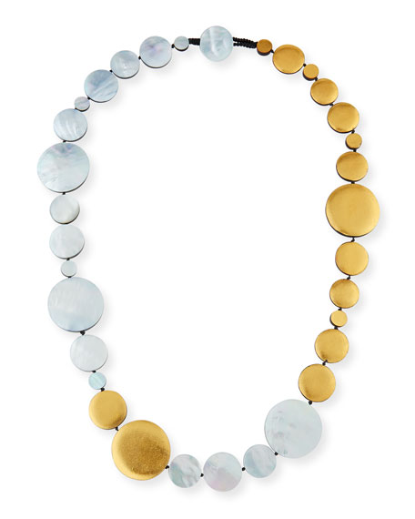 Single-Strand Mother of Pearl Disc Station Necklace