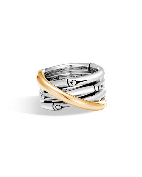 John Hardy Bamboo 18K Gold & Silver Ring, Size 7