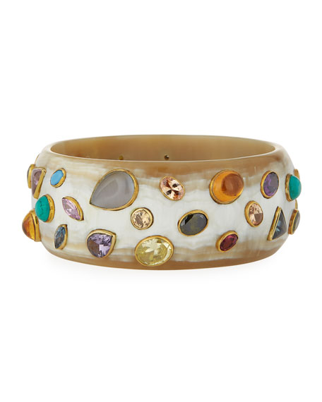 Ashley Pittman Mvutano Light Horn Cuff w/ Mixed Gems ZcURLMt