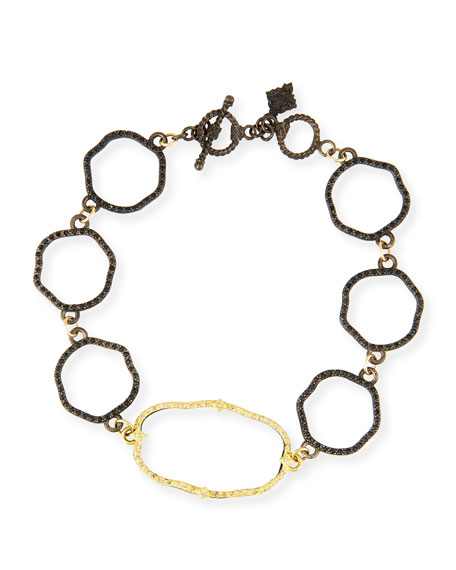 Armenta Old World Wavy Circle Link Bracelet with Diamonds