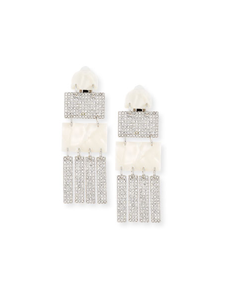 Crystal Skyscraper Statement Clip-On Earrings