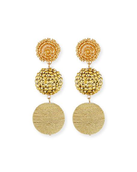 Kenneth Jay Lane Beaded Golden Triple-Drop Earrings