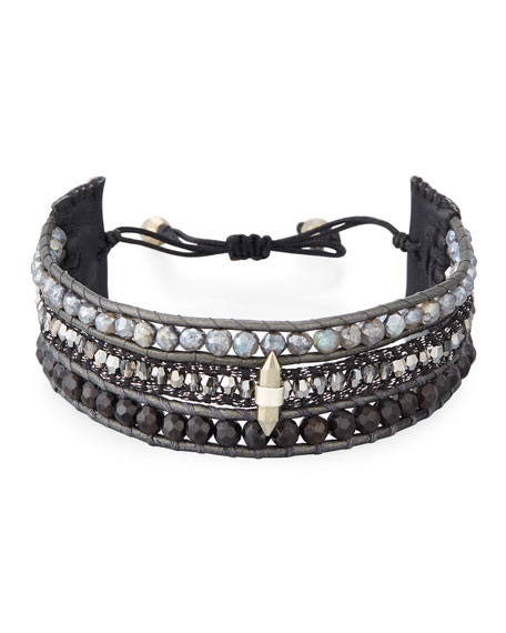 Three-Strand Pull-Tie Bracelet in Onyx & Mystic Labradorite