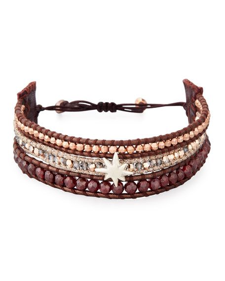 Chan Luu Three-Strand Pull-Tie Bracelet in Dark Red