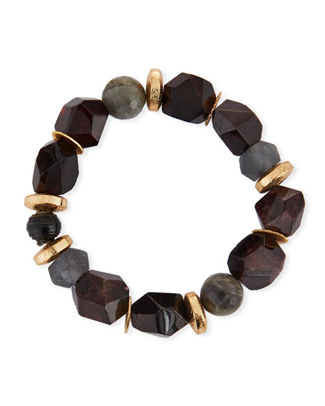 Akola Pica Beaded Druzy Stretch Bracelet