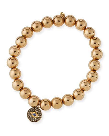 Sydney Evan 8mm Golden Beaded Bracelet with Diamond Eye Medallion Charm