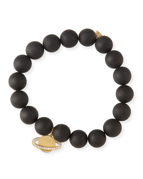 Sydney Evan 10mm Matte Black Onyx Beaded Bracelet with Diamond Saturn Charm