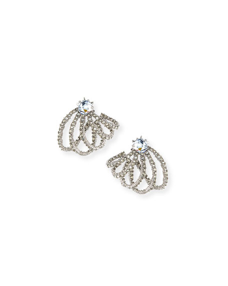 Image 1 of 3: Silvertone Crystal Lace Orbiting Post Earrings