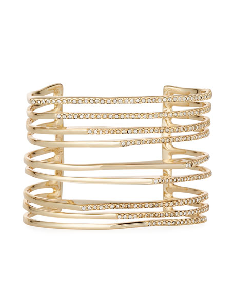 Image 1 of 2: Alexis Bittar Multi-Row Golden Crystal Origami Cuff Bracelet