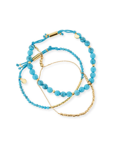 Power Gemstones Laguna Turquoise Beaded Bracelets  Set of 3
