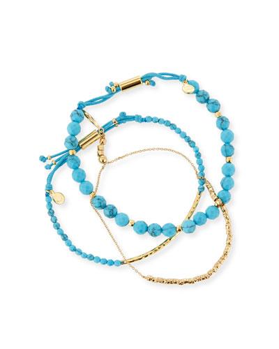Power Gemstones Laguna Turquoise Beaded Bracelets, Set of 3
