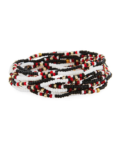 On the Bead Beaded Bracelet, Black/White