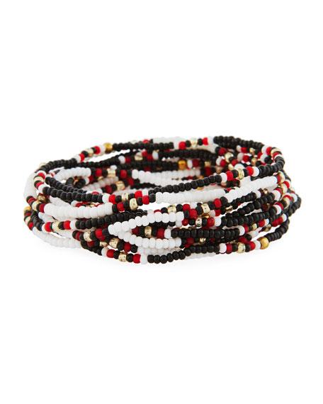 On the Bead Beaded Bracelet, Black/White