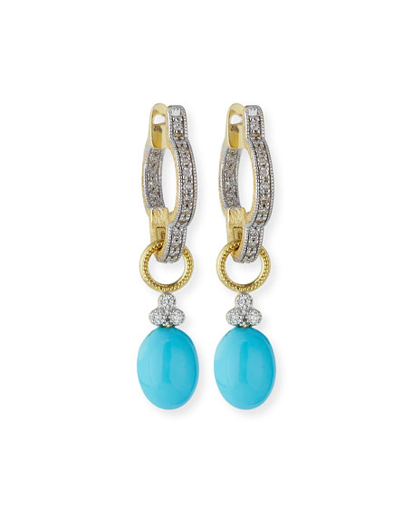 Image 2 of 3: Jude Frances Provence Turquoise Cabochon Briolette Earring Charms with Diamonds
