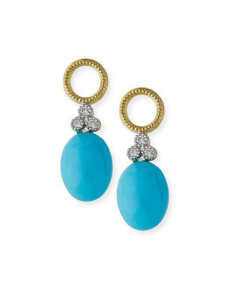 Image 1 of 3: Jude Frances Provence Turquoise Cabochon Briolette Earring Charms with Diamonds