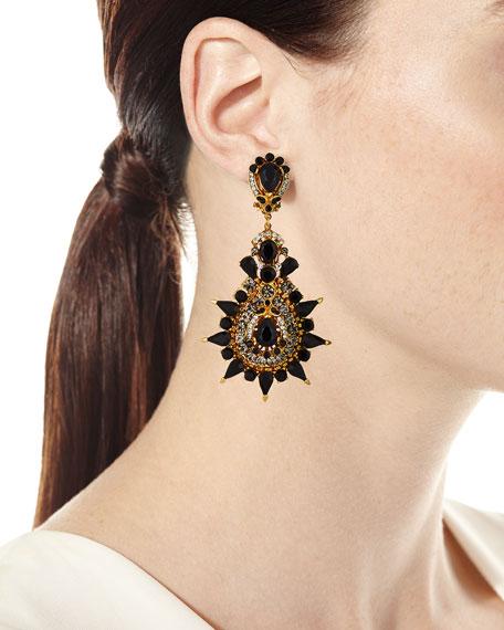 Black Crystal Starburst Clip-On Earrings