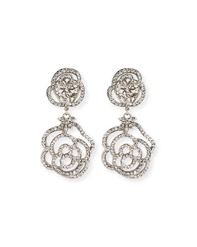 Crystal Flower Double-Drop Clip-On Earrings