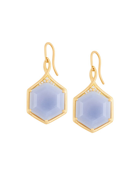 Jamie Wolf Mosaic Hexagon Drop Earrings with Blue Chalcedony & White Diamonds