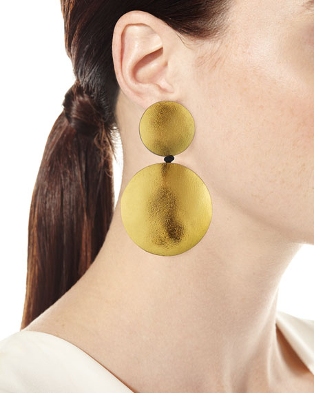 Viktoria Hayman Large Double Disc Statement Clip-On Earrings