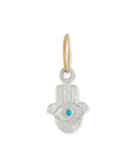 Hamsa Single Earring with Turquoise Cabochon