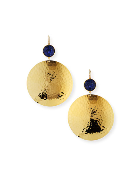 Devon Leigh Lapis Hammered-Disc Drop Earrings