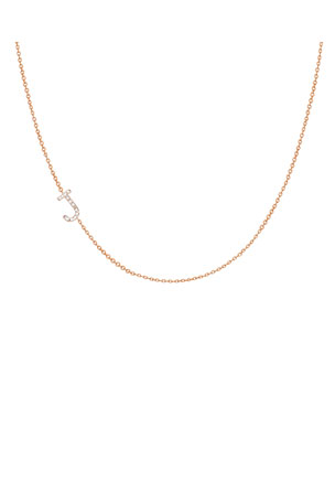 Zoe Lev Jewelry Personalized Asymmetric Diamond Initial Necklace in 14K Yellow Gold