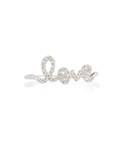 Sydney Evan 14k White Gold Diamond Love Script Ring, Size 6.5
