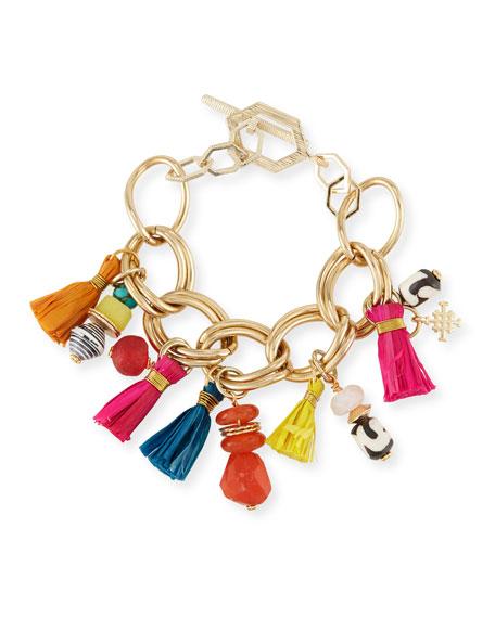 """Tassel Statement Chain Bracelet, 7.25""""L"""