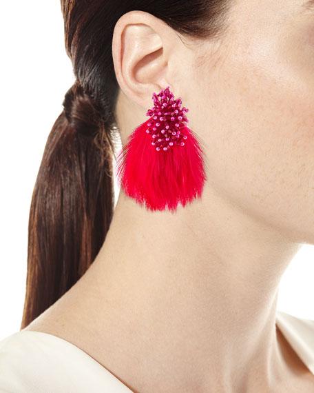 Mini Delaney Bead & Feather Drop Earrings